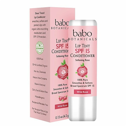 Babo Botanicals Wild Rose Lip Tint Conditioner Perspective: front