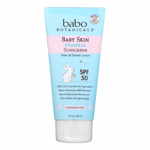 Babo Botanicals - Baby Skin Mineral Sunscreen - SPF 50 - 3 oz. Perspective: front
