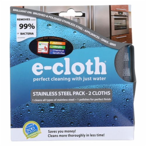 E-Cloth Stainless Steel Cleaning Cloth - 2 Pack Perspective: front