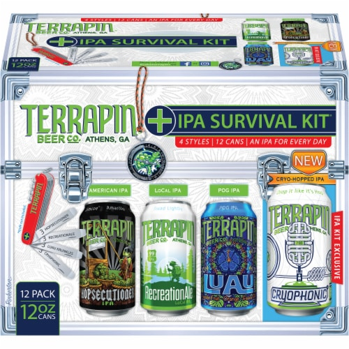 Terrapin Beer Co. IPA Survivial Kit Craft Beer Variety Pack 12 Cans Perspective: front
