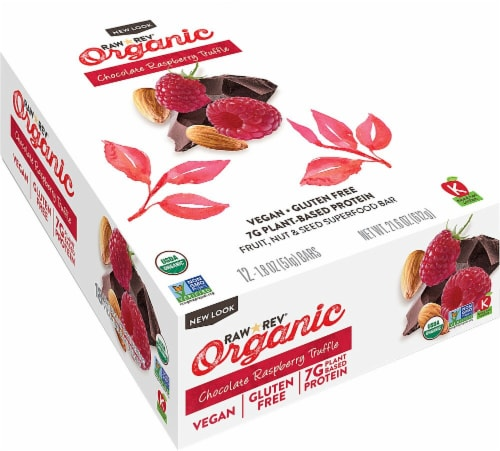 RAW REV  Organic Fruit Nut Seed Bar   Chocolate Raspberry Truffle Perspective: front