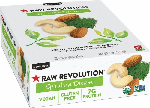 RAW REV  Organic Fruit Nut Seed Bar   Spirulina Dream Perspective: front