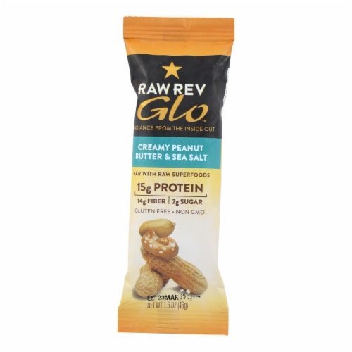 Raw Revolution Glo Bar - Creamy Peanut Butter and Sea Salt - 1.6 oz - Case of 12 Perspective: front