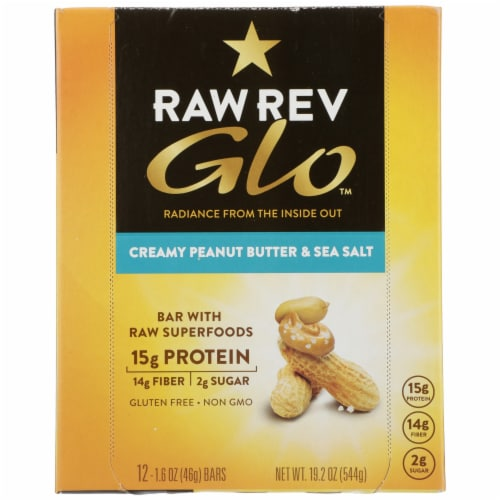 RAW REV  Glo™ with Raw Superfoods Creamy Peanut Butter & Sea Salt Bars Perspective: front