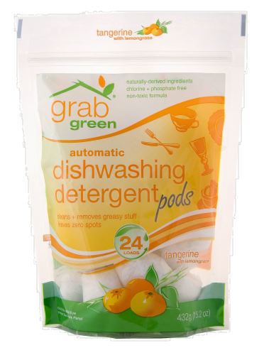 Grab Green Tangerine Lemon Dishwashing Detergent Pods Perspective: front
