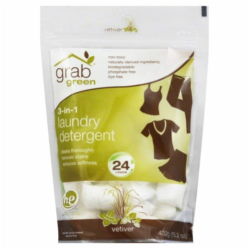 Grab Green Vetiver 3-In-1 Laundry Detergent Pods Perspective: front