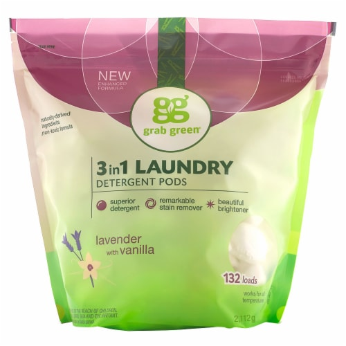 Grab Green 3 in 1 Lavender With Vanilla Laundry Detergent Pods Perspective: front