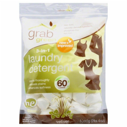 Grab Green 3-in-1 Vetiver Laundry Detergent Pods 60 Count Perspective: front