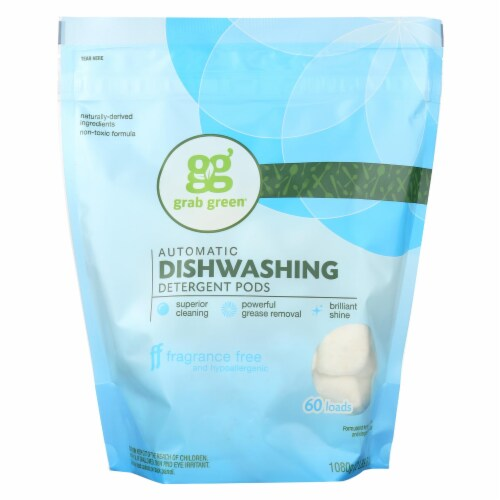 Grab Green Automatic Dishwasher - Fragrance Free - Case of 4 - 60 Count Perspective: front