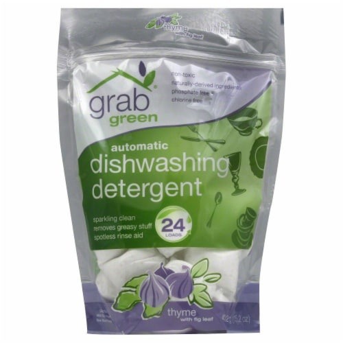 Grab Green Thyme with Fig Leaf Automatic Dishwashing Detergent Pods Perspective: front