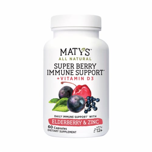 Maty's All Natural Super Berry Immune Support Capsules Perspective: front