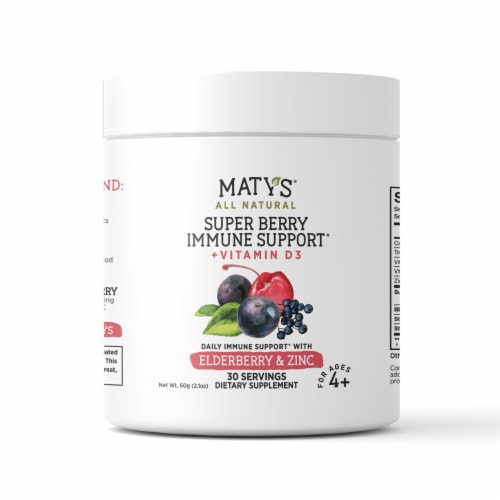 Maty's All Natural Super Berry Immune Support Elderberry & Zinc Dietary Supplement Perspective: front