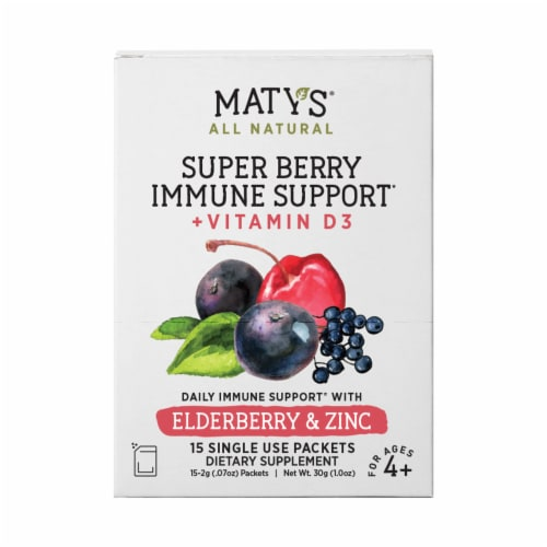 Maty's All Natural Super Berry Immune Support Elderberry & Zinc Packets Perspective: front