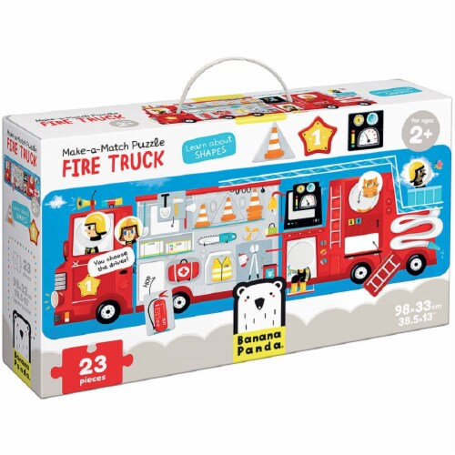 Make-a-Match Puzzle Fire Truck 2+ Perspective: front