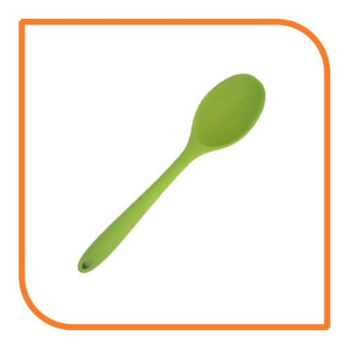 My XO Home Silicone Kitchen Cooking Tools (Green Spoon) Perspective: front
