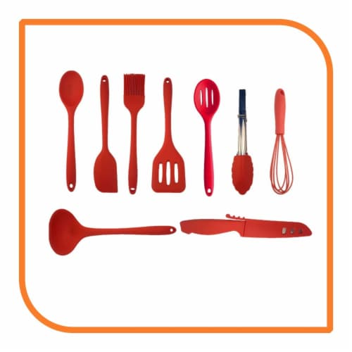 My XO Home Silicone Kitchen Cooking Tools - Red Set of 9 Perspective: front