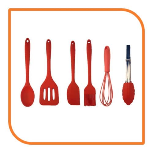 My XO Home Silicone Kitchen Cooking Tools -Red Set of 6 Perspective: front