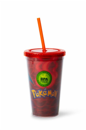 Pokémon Charizard Lenticular Plastic Tumbler Cup Lid & Straw | Holds 16 Ounces Perspective: front