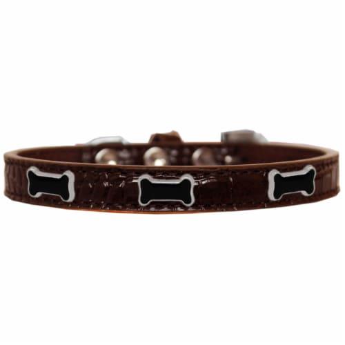 Black Bone Widget Croc Dog Collar Chocolate Size 14 Perspective: front