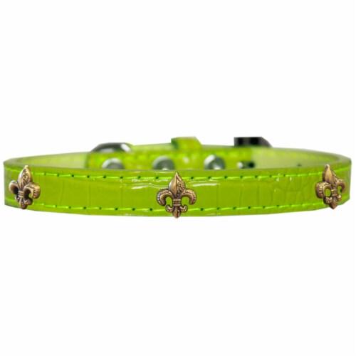 Bronze Fleur De Lis Widget Croc Dog Collar Lime Green Size 12 Perspective: front