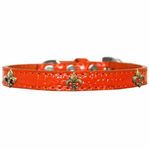 Bronze Fleur De Lis Widget Croc Dog Collar Orange Size 20 Perspective: front