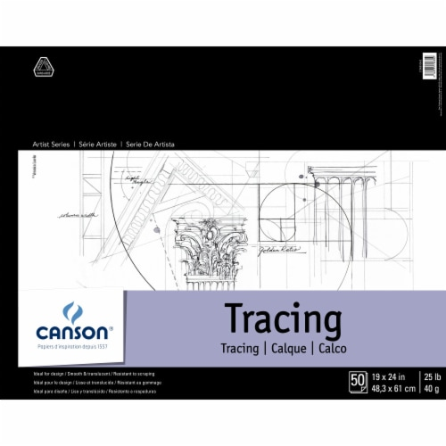 Canson Foundation Series 25-Pound Weight Tracing Paper - 50 Sheets Perspective: front
