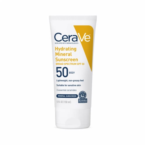 CeraVe Hydrating Mineral Body Sunscreen SPF 50 Perspective: front