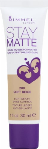 Rimmel Stay Matte 200 Soft Beige Liquid Mousse Foundation Perspective: front