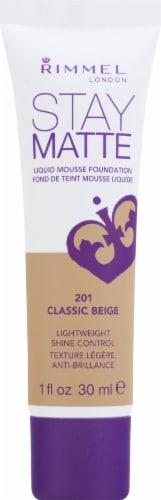 Rimmel Stay Matte 201 Classic Beige Liquid Mousse Foundation Perspective: front