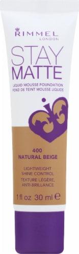 Rimmel Stay Matte 400 Natural Beige Liquid Mousse Foundation Perspective: front