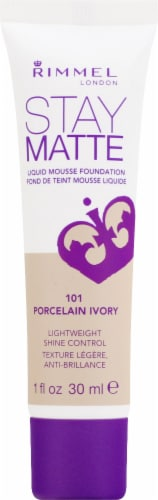 Rimmel Stay Matte 101 Porcelain Ivory Liquid Mousse Foundation Perspective: front