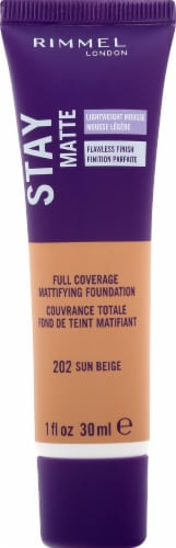 Rimmel London Stay Matte 202 Sun Beige Full Coverage Matifying Foundation Perspective: front