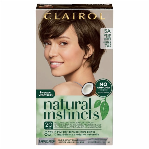 Clairol Healthy Looking Natural Instincts 5A Medium Cool Brown Hair Color Perspective: front