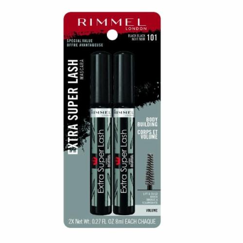 Rimmel 101 Black Black Extra Super Lash Mascara Twin Pack Perspective: front