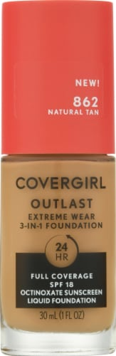 CoverGirl Outlast Extreme Wear 862 SPF 18 Natural Tan Foundation Perspective: front