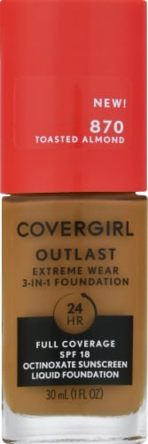 CoverGirl Outlast Extreme Wear 870 Toasted Almond Foundation Perspective: front