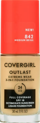 CoverGirl Outlast Extreme Wear 842 Medium Beige Foundation Perspective: front