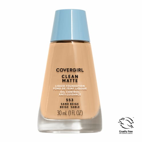 Covergirl Clean Matte 553 Sand Beige Liquid Foudation Perspective: front