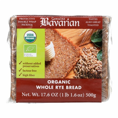Genuine Bavarian Organic Bread - Whole Rye - Case of 6 - 17.6 oz. Perspective: front