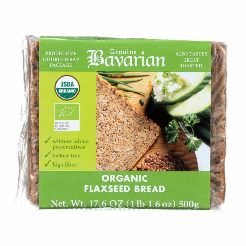 Genuine Bavarian Organic Bread - Flaxseed - Case of 6 - 17.6 oz. Perspective: front