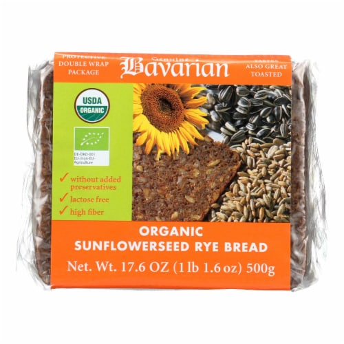 Genuine Bavarian Organic Bread - Sunflower seed Rey - Case of 6 - 17.6 oz. Perspective: front