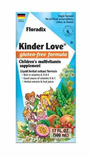 Floradix Kinder Love Gluten-Free Children's Multivitamin Supplement Perspective: front
