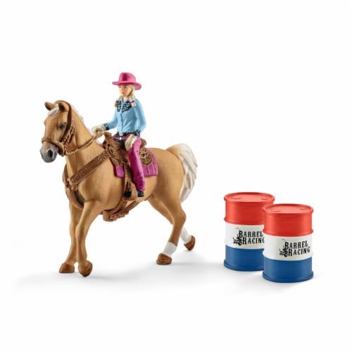 Schleich Barrel Racing with Cowgirl Playset Perspective: front