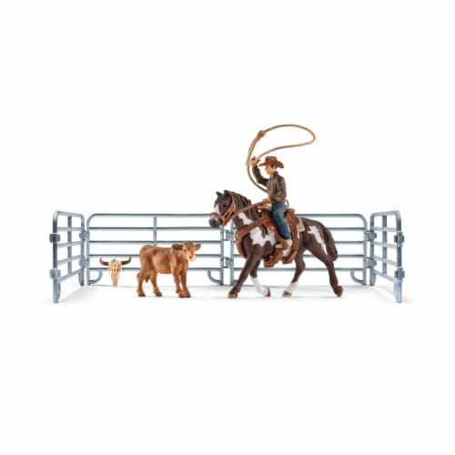 Schleich Team Roping and Cowboy Playset Perspective: front