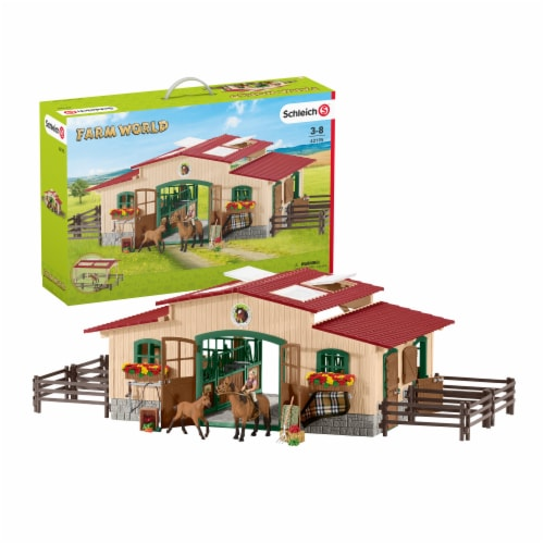 Schleich Farm World Stable with Horses and Accessories Playset Perspective: front