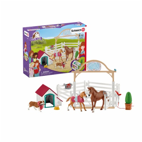Schleich Horse Club Hannah's Guest Horses with Ruby the Dog Playset Perspective: front