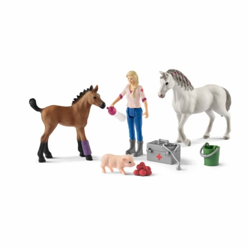 Schleich Vet Visiting Mare and Foal Playset Perspective: front