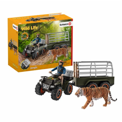 Schleich Wild Life Jungle Quad Bike with Trailer and Ranger Playset Perspective: front