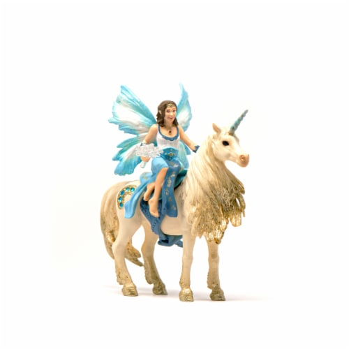 Schleich Eyela Riding on Golden Unicorn Figurine Perspective: front