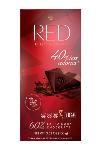 RED Extra Dark Chocolate Bar Perspective: front